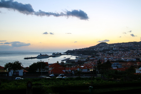 Panorama of Funchal from Viewpoint Vila Guida on the island Madeira, Portugal Stock Photo