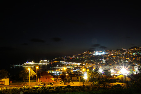 Panorama of Funchal from Viewpoint Vila Guida on the island Madeira by Night, Portugal