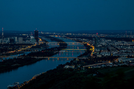leopold: Panorama view of Vienna, Austria seen from Leopoldsberg (Leopold Hill) in the night