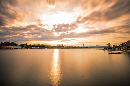 Sunset and dawning on the Danube Island in Vienna, Austria Reklamní fotografie
