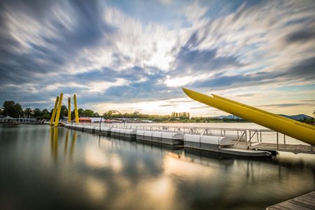 the sunken: Sunset and dawning on the Danube Island in Vienna, Austria Stock Photo