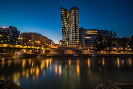 Dawning on Schwedenplatz in Vienna