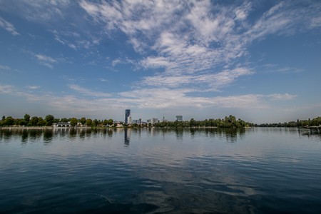 Summer day at the Old Danube recreation area in Vienna, Austria