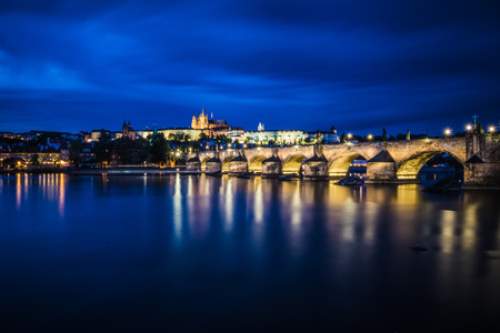 View on the Prague Castle and Lesser Town from the Novotny footbridge