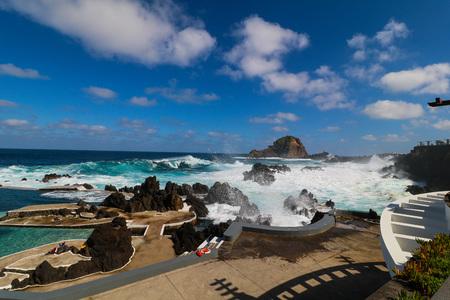 Porto Moniz on the north coast of the Iceland Madeira, Portugal Stok Fotoğraf