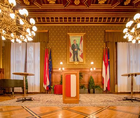 City Senate Boardroom in Vienna City Hall, Austria Editorial