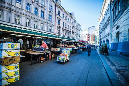 Havel Market (Havelske Trziste) at the Prague Old Town, Czech Republic