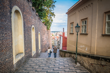 The Stairway to the Prague Castle at Summer in Prague, Czech Republic