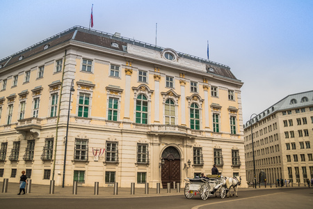 The Austrian Federal Chancellery on the Ballhausplatz in Vienna, Austria 免版税图像