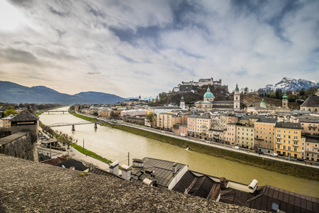 View of the city of Salzburg from the Capuchin mountain in Austria, Spring Time