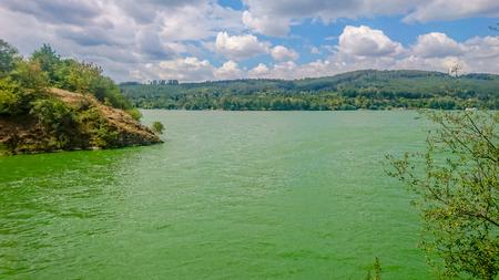 Blue-algae bloom plague on the Brno reservoir in Summer in the Czech Republic