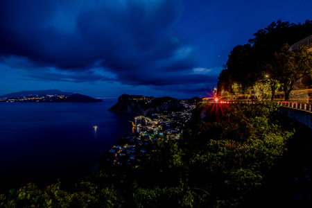 The view of Capri and Marina Grande from Hotel San Michele at Anacapri on a spring evening.