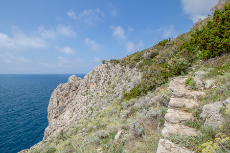 The path of the small fortresses in Anacapri on the island of Capri, Italy Imagens - 109439135