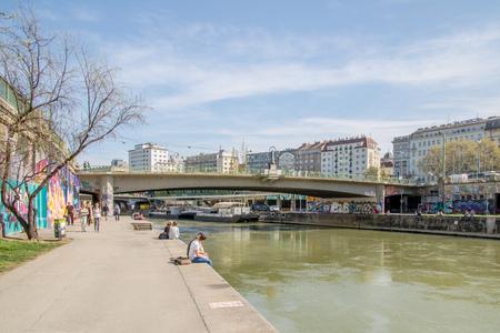 Danube Canal promenade in spring in Vienna, Austria