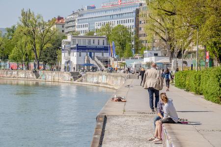 Danube Canal promenade in spring in Vienna, Austria Editorial