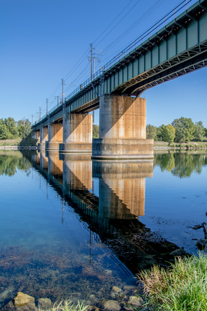 Railway bridge over the Danube at Kaiserm?hlendamm in Vienna, Austria