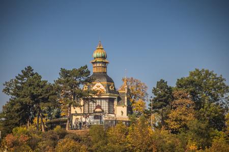 The Hanau Pavilion at Letn? Park in autumn, Prague, Czech Republic Imagens