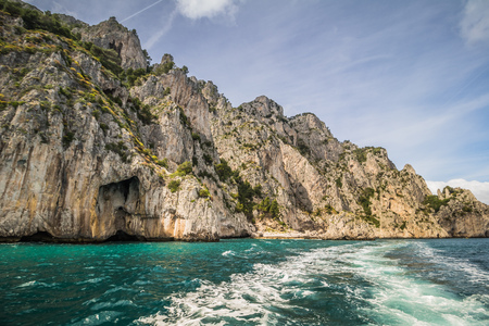 Impressions of a boat trip around the island of Capri in spring, Italy