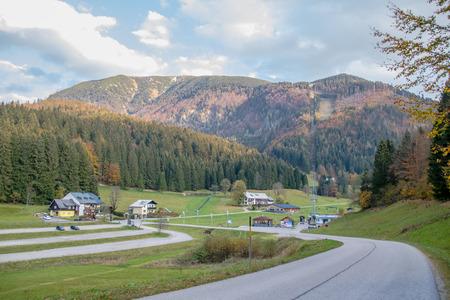 Lackenhof with the massif mountain ?tscher in autumn, Mostviertel, Lower Austria, Austria Imagens - 126632459