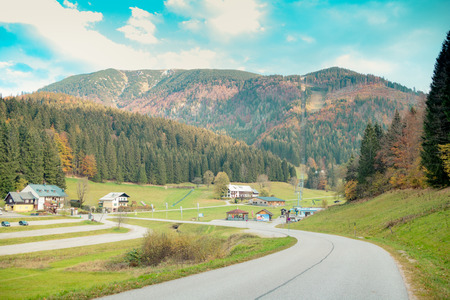 Lackenhof with the massif mountain ?tscher in autumn, Mostviertel, Lower Austria, Austria Imagens