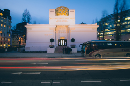 The Vienna Secession at dusk, Austria