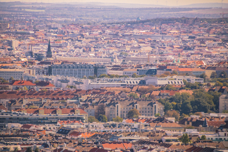 Panoramic view on Vienna from Wilhelminenberg in summer