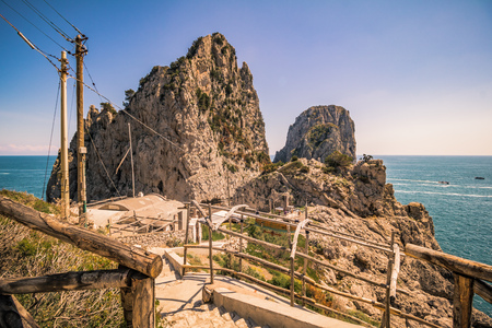 The well-known Faraglioni rocks in front of the island of Capri, Italy Reklamní fotografie