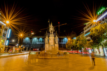The statue of St. Wenceslas at Prague at night, Czech Republic Editorial