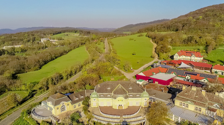 Former castle Caf? and Restaurant Cobenzl at the Reisenberg in Vienna Woods from above, Vienna, Austria