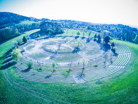 Natural Monument Tree of life circle In the sky in Vienna Dobling in spring from above, Austria Stock fotó