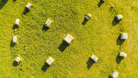 Stone circle in the sky in Vienna Dobling in spring from above, Austria
