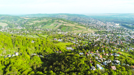 The castle at the Leopoldsberg in the Vienna Woods at spring from above, Vienna, Austria