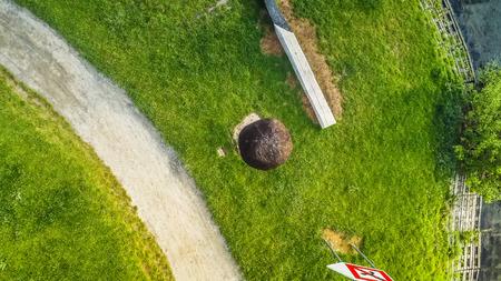 Meeting point match at Brno Reservoir from above, Czech Republic Imagens