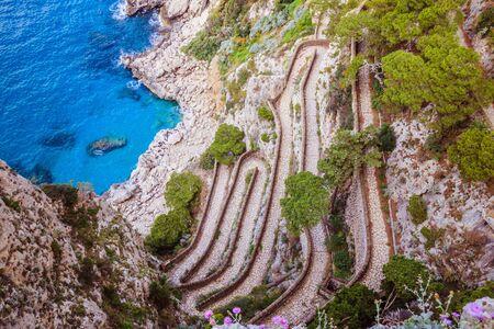 Serpentine path Via Krupp in Capri, Italy