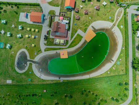 The swimming pool Biotope Brno-Jih from above, Czech Republic