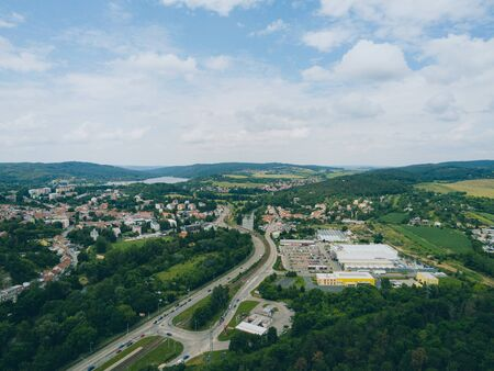 The old quarry in Brno-Komin from above, Czech Republic