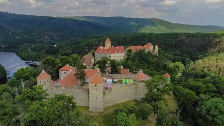 The castle Veveri in Brno Bystrc from above, Czech Republic Standard-Bild - 138746261