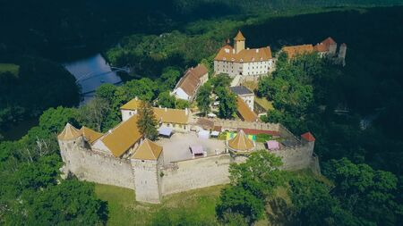 The castle Veveri in Brno Bystrc from above, Czech Republic Standard-Bild - 138746259
