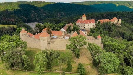 The castle Veveri in Brno Bystrc from above, Czech Republic