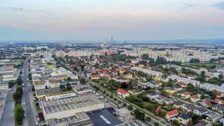 Vienna district Donaustadt from above, Vienna, Austria Stok Fotoğraf