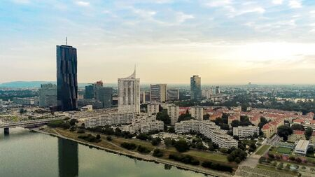 Danube Island from above, Vienna, Austria Imagens