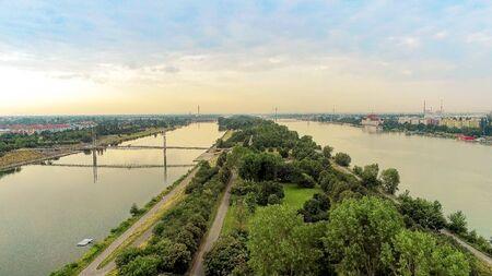 The Danube Island from above in summer, Vienna, Austria