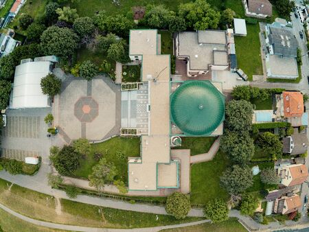 The Vienna Mosque on the Danube Island from above, Vienna, Austria