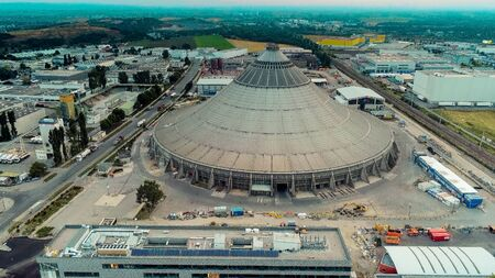 The waste treatment plans Rinterzelt from above, Vienna, Austria