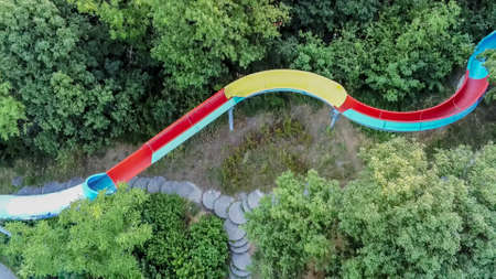 Old water slide on the Danube island from above, Vienna, Austria