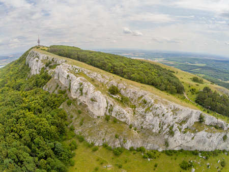 The Devin Mountain in the Palava Mountains from above, Czech Republic