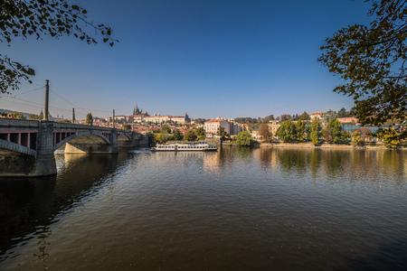 Dvorakovo nabrezi Dvo??k quay in Prague, Czech Republic Editorial