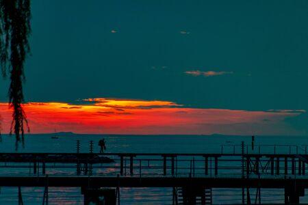Sunset on Lake Constance in Bregenz, Austria Imagens