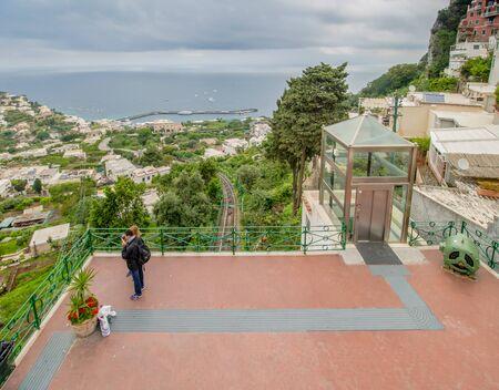 The famous Piazzetta in the center of Capri, Italy Standard-Bild - 128839339