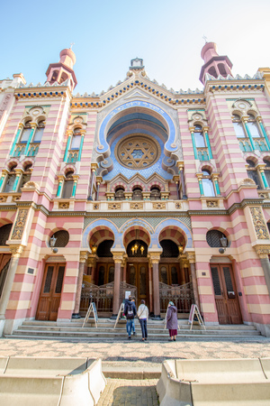 The Jerusalem Synagogue in Prague, Czech Republic Standard-Bild - 128836955